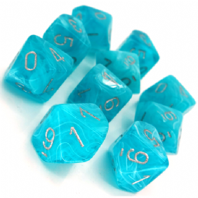 Aqua & Silver Cirrus D10 Ten Sided Dice Set